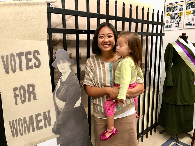 Delegate Kathy Tran (D-42), with daughter Alise, at Lorton Prison Museum, August 2018.