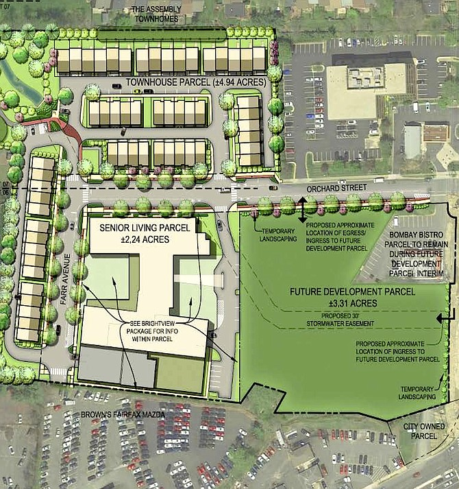 Northfax West site plan showing the townhouses, senior-living facility and future-development area.