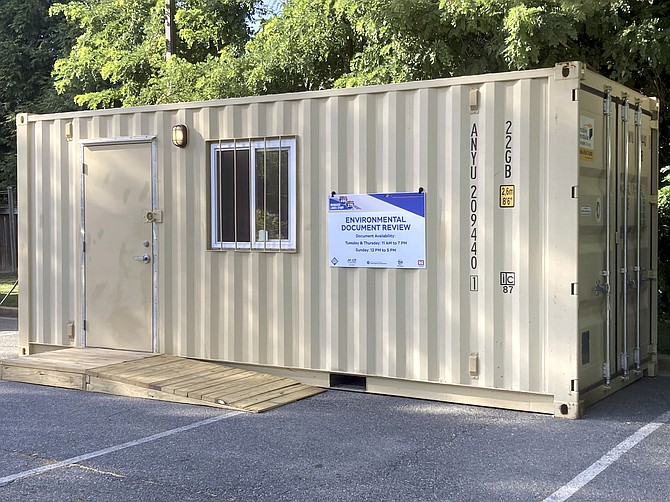This trailer is in the parking lot of the Potomac Community Library. Inside are 18,000 pages of Environmental Impact Study for the widening of the American Legion Bridge and 48 miles of the Beltway and I-270 to allow adding four lanes that would be accessible with tolls, two lanes in each direction.