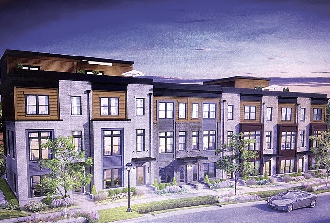 Artist's rendition of the townhouses to be built in Fairfax City.