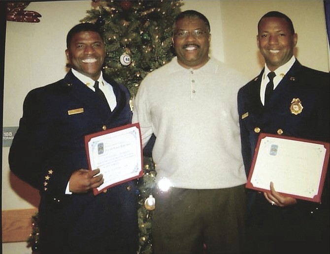 Left to right: Christopher Thompson, Clayton Thompson II and Kendall Thompson (Fairfax County Fire and Rescue Retired).