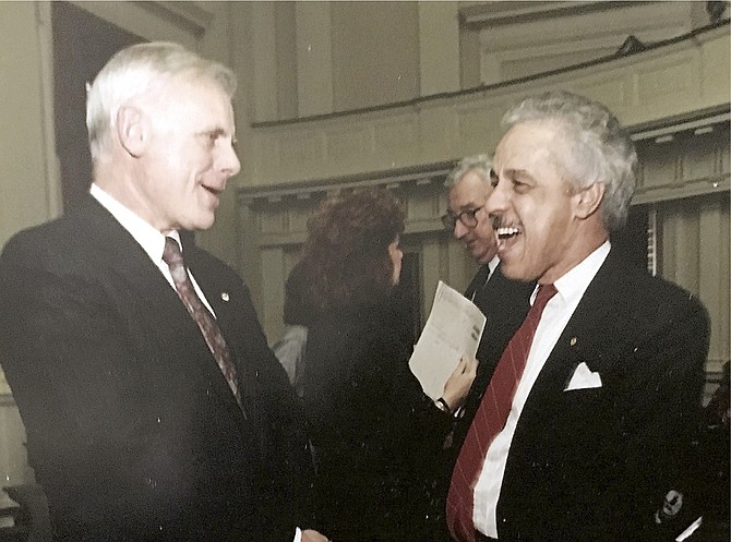 Bob Calhoun as a state senator with then-Virginia governor Douglas Wilder.
