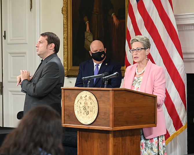 State Superintendent of Schools Karen Salmon speaks at a press conference with Maryland Governor Larry Hogan Aug. 26. Salmon suggested schools evaluate their plans after the first quarter.