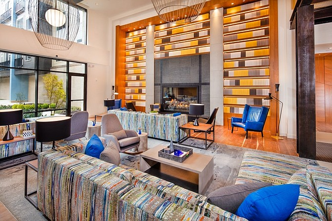 One of the living rooms inside the new luxury apartments.