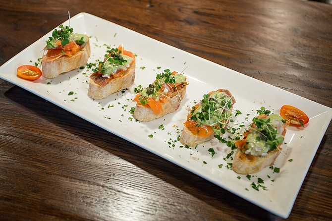 Smoked Salmon Crostini at The Wine House.