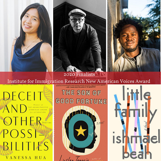 Fall for the Book/New American Voices Award finalists (from left) Vanessa Hua, Lysley Tenorio and Ishmael Beah.