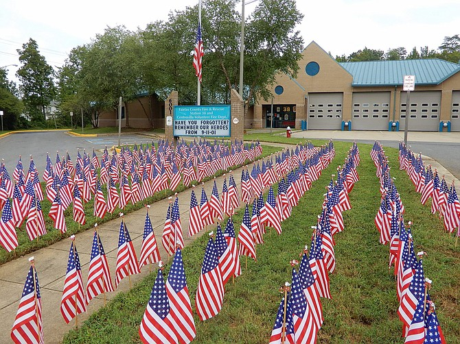 Each Sept. 11, the front lawn of West Centreville Fire Station 38 is adorned with 343 small American flags in honor of the 343 firefighters who died that day in New York.