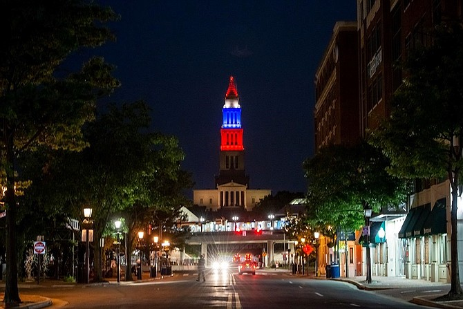 The George Washington Masonic National Memorial, lit up in June to celebrate the 2020 graduating class of T.C. Williams High School, can be seen for miles across the region and is one of Alexandria's most iconic landmarks.