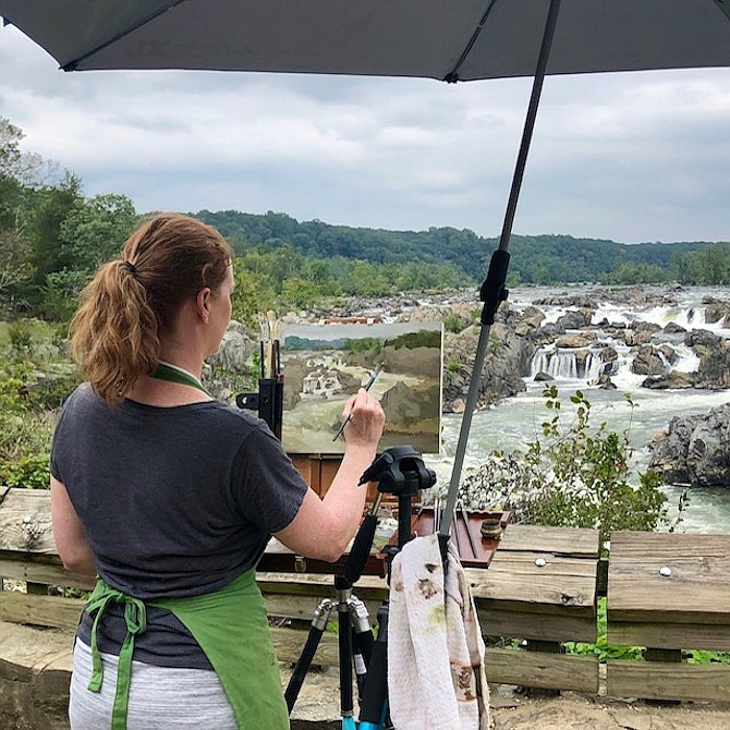 Artist Debra Dartez sets up at Great Falls Park to paint for Paint Great Falls Plein Air Competition.
