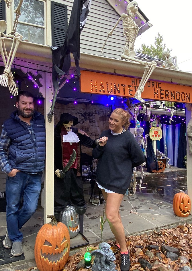 Bob Mathews and Colleen Delawder came with just a few decorations years ago until now it's grown to mega-Halloween.