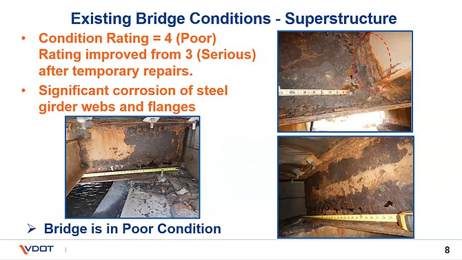 According to the Virginia Department of Transportation, the existing Springvale Road bridge over Piney Run in Great Falls is in poor condition and deteriorating fast.
