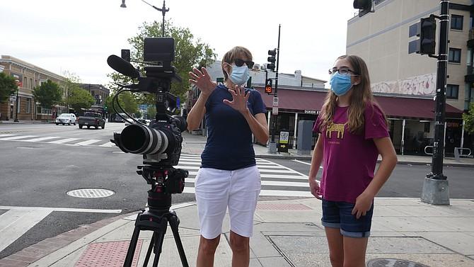Jane Pittman filming on U Street in Washington, D.C.