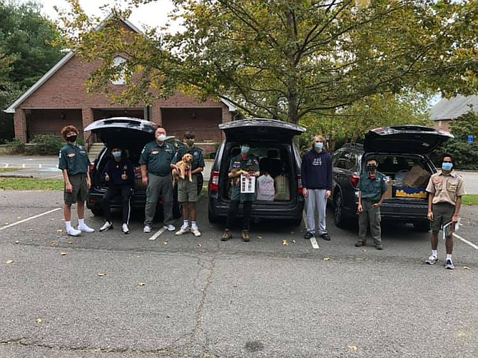 Scouts BSA Venture Crew 673 October Food Drive, with help from a few Pack 673 Cub Scouts, collected 526lbs for SHARE in McLean.