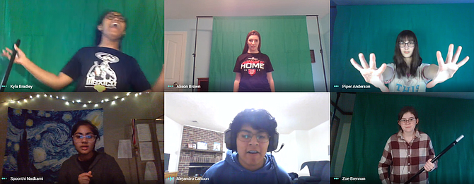 Kyla Bradley, Alison Brown, Piper Anderson, Spoorthi Nadkami, Alejandro Cahoon and Zoe Brennan rehearse an intense battle scene over Google Meet.