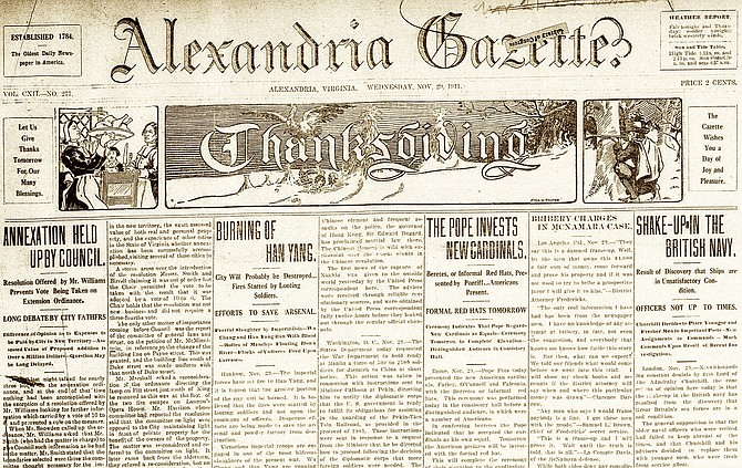 The front page of the Alexandria Gazette from Nov. 29, 1911.