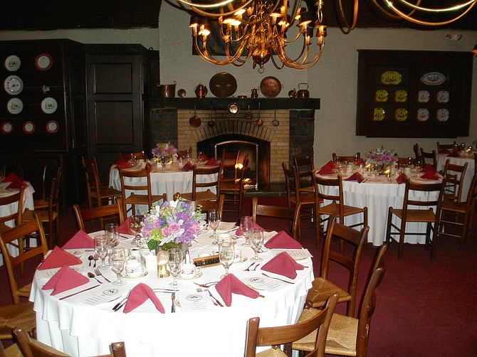 Inside Normandie Farm's dining room.