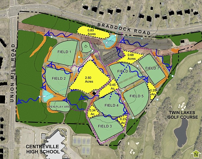 A map of the current uses at Braddock Park. The yellow areas are undeveloped.