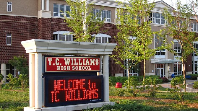 The marquee outside T.C. Williams High School. The School Board voted Nov. 23 to change the name of the school along with Matthew Maury Elementary School.