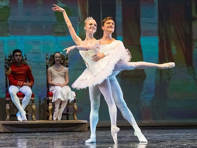 "Guest soloists and American Ballet Theatre alumni, Elina Miettinen dancing the role of Sugar Plum Fairy and Sean Stewart dancing the role of Cavalier in the Fairfax Symphony and Fairfax Ballet Company production of ""The Nutcracker."""
