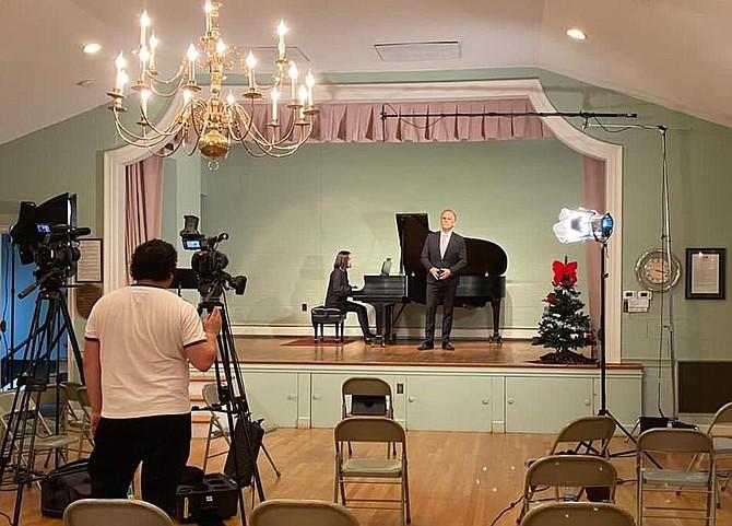Carlos Macher directs rehearsal of Opera NOVA's Virtual Christmas program on Saturday, December 4. Baritone Jose Sacin rehearses with Titiana Loisha on piano.