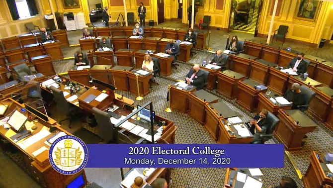 The Electoral College meeting for Virginia took place in the chamber of the House of Delegates earlier this week. All 13 of Virginia's electoral votes were awarded to Joe Biden.