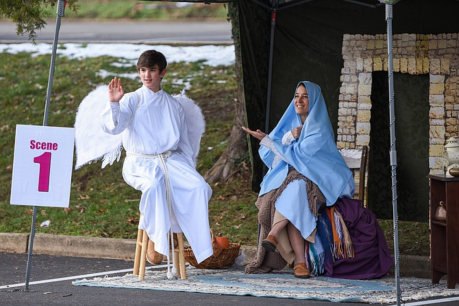 The angel Gabriel visits Mary to tell her she will soon be with child.