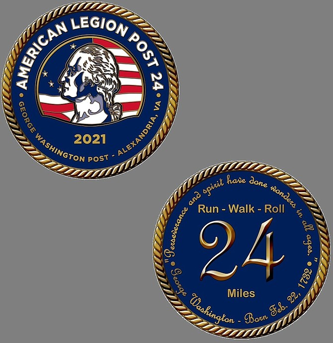 Participants in the American Legion's 24-mile Run, Walk & Roll virtual challenge will receive a custom-designed commemorative coin.