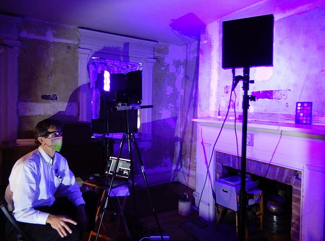Mike Toth working with his multispectral imaging system in Historic Blenheim's parlor.