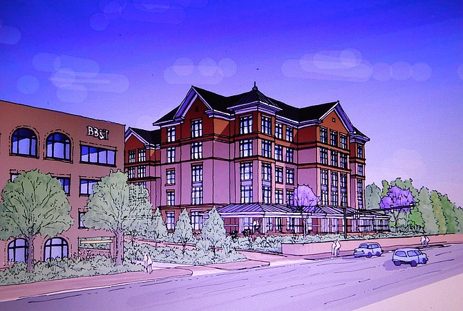Artist's rendition of the proposed five-story Sunrise Senior Living building, as seen from Chain Bridge Road.