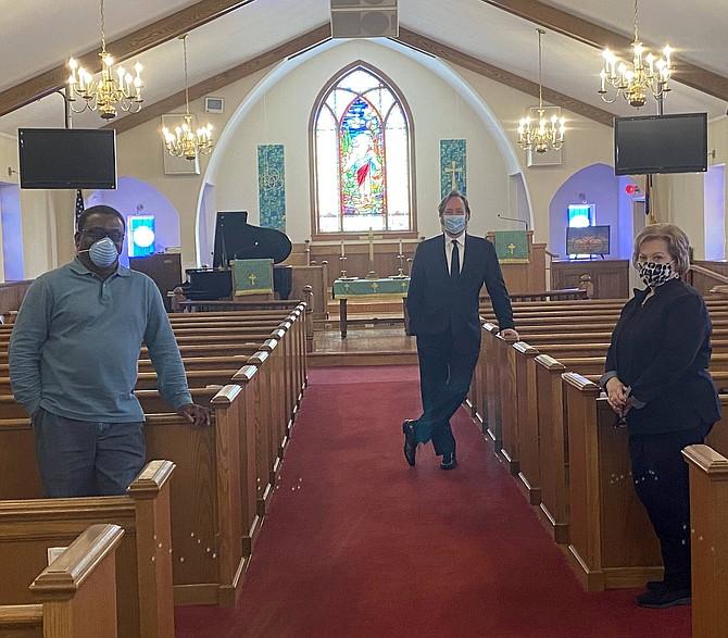 (From left) Reverend Livingston S. Dore, Pastor, Great Falls United Methodist Church; Thomas Pandolfi, Concert Pianist; and Jesslyn Lumb, Worship Coordinator, Great Falls United Methodist Church.