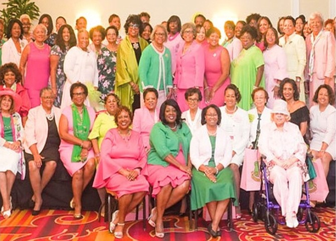 """""""Golden"""" members of the Arlington/Alexandria chapter of Alpha Kappa Alpha, who joined the sorority before and during the Civil Rights Movement, shed tears of joy as they witnessed the historic swearing-in of Vice President Kamala Harris."""