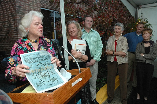 Elie at the 50th anniversary celebration of the Potomac Almanac, started by Elie's mother, Margo McConihe. Pictured: Elie, Mary Kimm, Adam Greenberge, Luite Semmes, Alex Scofield and Leslie Leven.