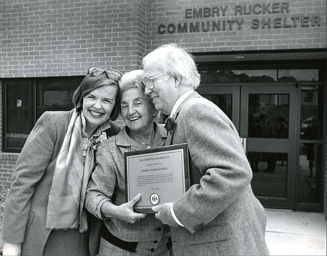 Priscilla Ames, Martha Pennino and Embry Rucker outside the Embry Rucker Shelter Community Center.
