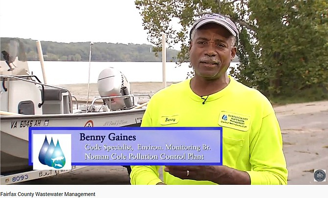 One scene from the county wastewater video was filmed on the banks of Gunston Cove where the clean water is successfully put back into the ecosystem.