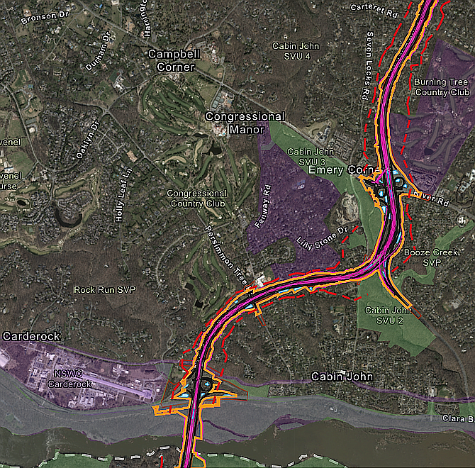 Map shows projections for limits of disturbance while adding four toll lanes to the Beltway and American Legion Bridge in the Bethesda/Potomac area.