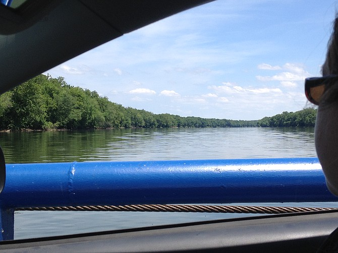 View of the Potomac River from a car on White's Ferry.