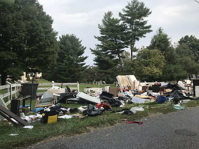 Household items discarded along a roadside in Potomac in September; a possible eviction? More than 14,000 cases are waiting to be heard for failure to pay rent.