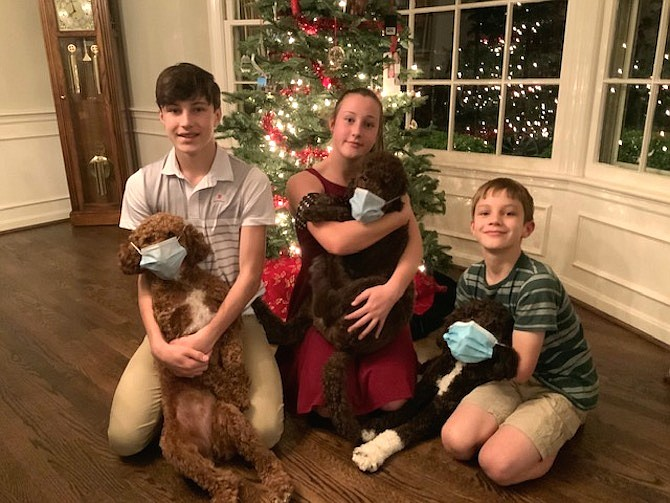 """COVID PUPPIES: Traci Richmond writes: """"We have three puppies, and they've been a source of laughter and comfort during the pandemic. Here are Tommy Richmond with Siskin, Madelyn Richmond with Bob Ross, and Graham Richmond with Cocoa."""""""
