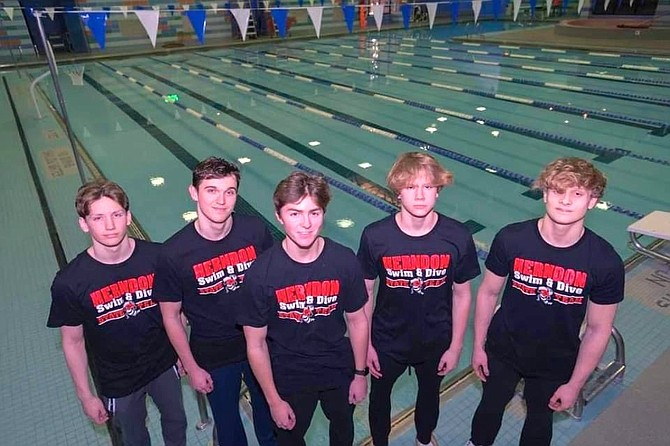 (From left) Herndon High School freshman William McClough, senior Cooper Hill, junior Justin Tyrell (alternate), freshman Rian Graham, and sophomore Noah Dyer.