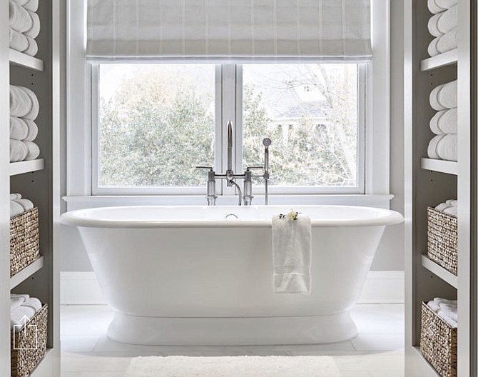 A free-standing tub was part of a McLean home remodel by interior designer Tracy Morris.