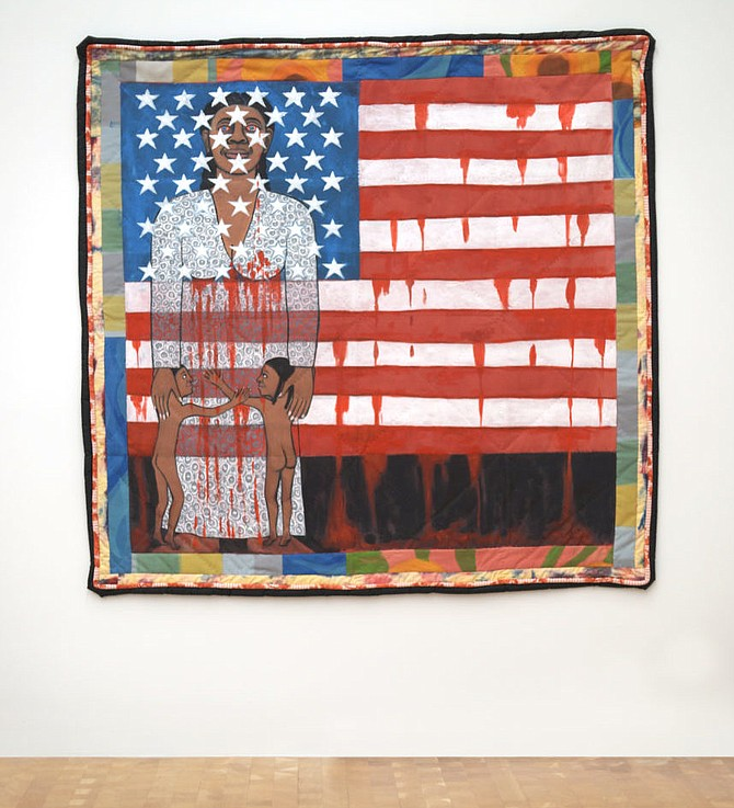 Faith Ringgold; the only U.S. venue of the touring exhibition will be at Glenstone. The American Collection #6: The Flag is Bleeding #2, 1997.