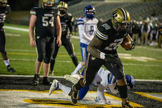 Mikal Legall #28 scored three touchdowns in Westfield's 35-0 win over West Potomac.