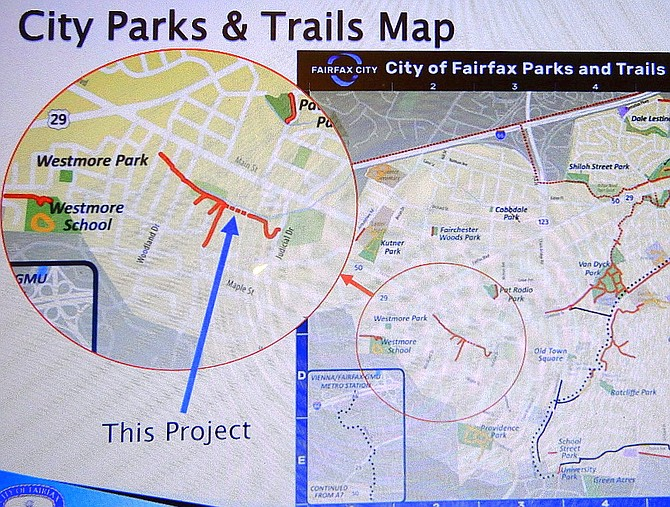 Map of the Judicial Drive trail-connection area in Fairfax City.