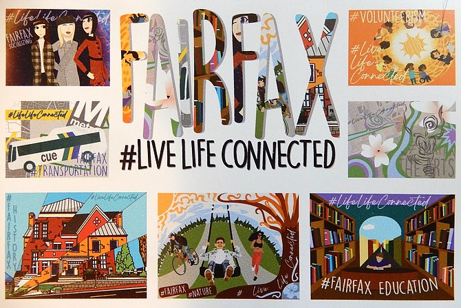 The eight colorful murals, created by Fairfax High art students, illustrate life in Fairfax City.