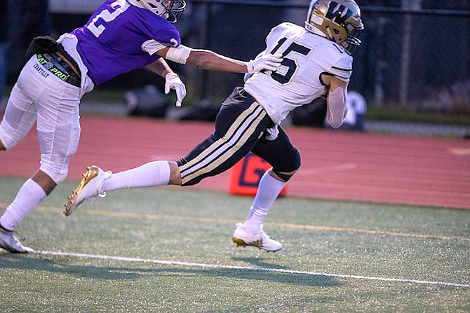 Alex Richards #15 scores the first of his two Westfield touchdowns.