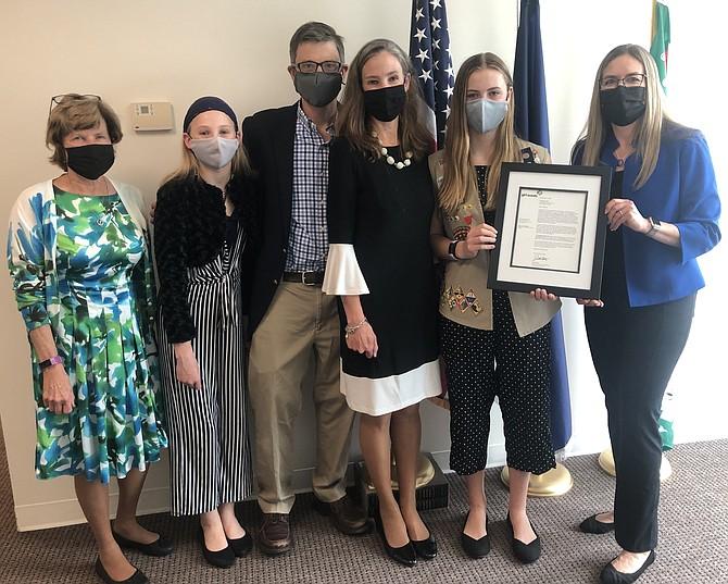 From left: Carol Blackwell, Belle Walke, Thomas Walke, Jennifer Blackwell, Penny Walke, Congresswoman Jennifer Wexton.