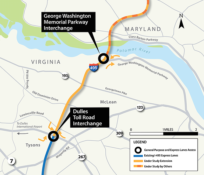 """I-495 Express Lanes Northern Extension Project (""""495 NEXT"""" or """"Project"""") is a 2.5-mile extension of the 495 Express Lanes north from the current terminus near the 1-495 and Dulles Access Road interchange and to the vicinity of American Legion Bridge. Two new express lanes will run in each direction."""