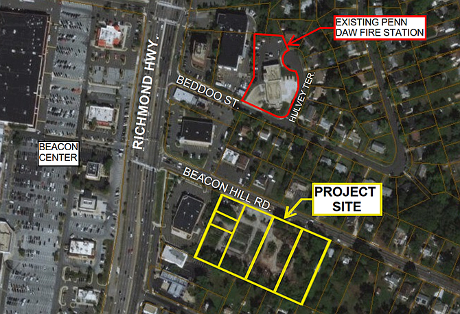 This map shows the location of the present fire station and the new location they are considering.