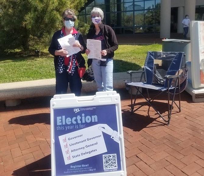 LWV-Fairfax member Mary Valder and LWV-Virginia President Deb Wake at the Fairfax Government Center.