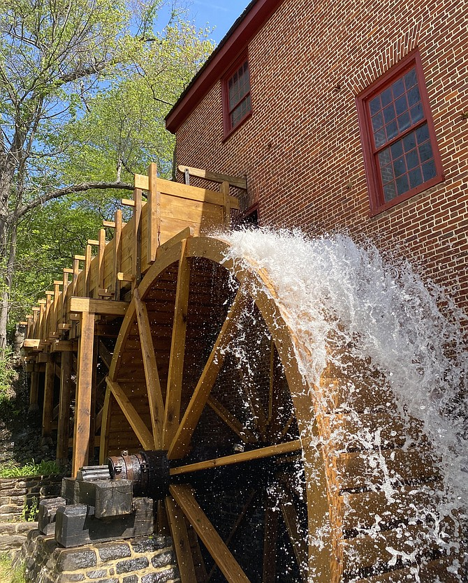 With its new flume and waterwheel, Colvin Run Mill in Great Falls reopened on May 2, 2021. Once again, the mill can grind grain and produce cornmeal as it did 200 years ago.